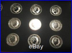1999-2010 AUSTRALIA SILVER LUNAR COMPLETE SET 12 COINS 1OZ WithPres. Wooden Box