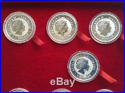 1999-2010 AUSTRALIA SILVER LUNAR COMPLETE SET 12 COINS 1OZ Withpresentation R/BOX