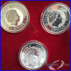 1999-2010 AUSTRALIA SILVER LUNAR COMPLETE SET 12 COINS 1 OZ With PRESENTATION BOX