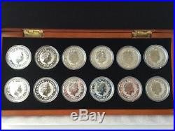 1999-2010 AUSTRALIA SILVER LUNAR COMPLETE SET SI 12 COINS 1Oz with Wooden Box