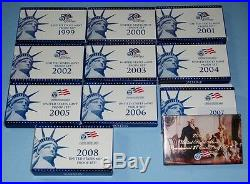 1999 though 2008 Clad Proof Sets Complete