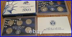 1999 to 2008 Proof Set U. S. Mint 10 Sets Complete 50 State Quarters + Other COA