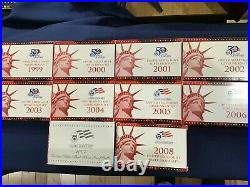1999 to 2008-S US Silver Proof Sets Complete Run of 10 Sets E6575
