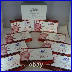 1999 to 2008 US Mint Silver Proof COMPLETE Set of 109 coins WITH State Quarters