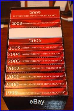 1999 to 2009 COMPLETE RUN US MINT SILVER PROOF SETS DATED ORIGINAL as ISSUED