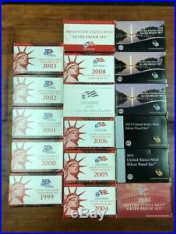 1999 to 2015 COMPLETE RUN US MINT SILVER PROOF SETS Lot of (17)