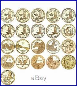 2000-2020 S Native American Sacagawea Proof Dollar Run Gem 21 Coin complete Set