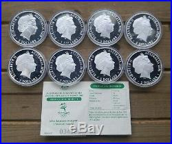 2000 Sydney Olympic 1oz. 999 Silver Coin Complete Set Of 8