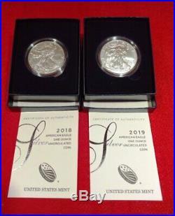 2006-w Thru 2019-w U. S. Burnished American Silver Eagles Coins Complete Set