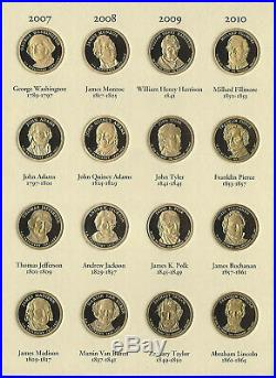 2007-2016 Complete Presidential Dollar Proof Set Collection39 Pc In Folder