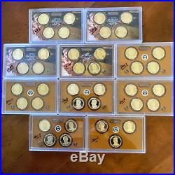 2007-2016 Complete Presidential Dollar Proof Set Collection39 Pc No Box/COAs