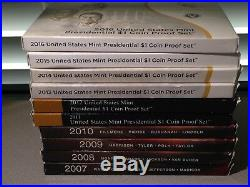 2007-2016 Complete Presidential Proof Dollar Set In Mint Boxes & COA 39 coins