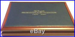 2007-2016 Complete Set Presidential Dollar Coin Display cherry wood Case leather