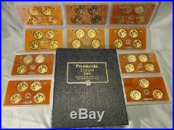 2007-2016 P, D, S Complete Presidential Dollar Set with Proofs In Lens