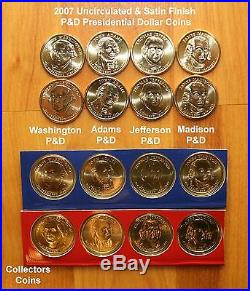 2007-2016 Presidential Dollar ($1) PD 110 Coin COMPLETE Uncirculated & Satin Set