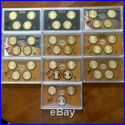 2007-2016 Proof Presidential Dollars Complete Collection39 Pc Set- Mint Plastic