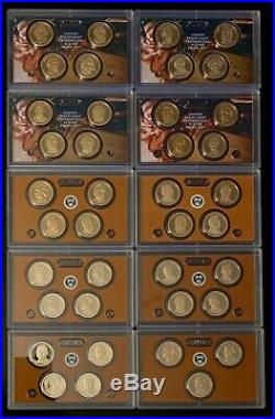 2007 S 2016 S Proof Presidential Dollar Complete Set TEN SETS with 2012 S