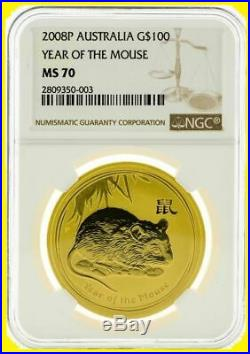 2008-2018 AUSTRALIA GOLD LUNAR 12 COINS complete SET 12 OZ GOLD NGC 70 SERIES 2