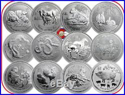 2008-2019 Australia 1 oz Lunar Silver Coins, Complete Set of 12, Mouse-Pig