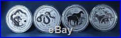 2008-2019 Australia Silver Lunar 2 Oz. Series 2-complete Set-12 Coins With Case