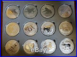2008-2019 Australian Silver Lunar 2 oz Complete Set w Display Box
