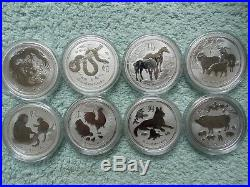 2008 to 2019 Australia Silver Lunar (Complete Set of 12 One ounce coins)