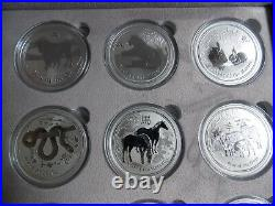 2008 to 2019 Australia Silver Lunar II (Complete Set of 12 One ounce coins)