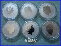 2008 to 2019 Australian Silver Lunar II Colorized 1/2 OZ (Complete 12 coin set)