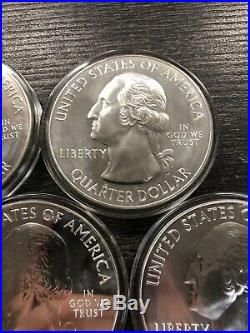 2010 America The Beautiful 5oz Silver Quarters Complete Set 5 Coins