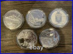 2010 America the Beautiful 5 oz Silver Complete Set in Capsule