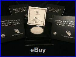 2011 America the Beautiful COMPLETE SET OF 5 Uncirculated 5 oz silver Coins