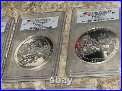 2011 Complete Set (5) ATB 5 Oz Silver Coin PCGS MS69 DMPL First Strike Flag
