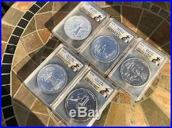 2011-P PCGS Roosevelt SP70 5 oz SILVER ATB SET -ALL 5 COINS To Complete The Set
