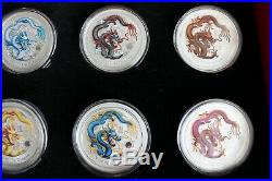 2012 Australia Silver Dragon Lunar Series II 1 OZ Colorized COMPLETE SET OF 12