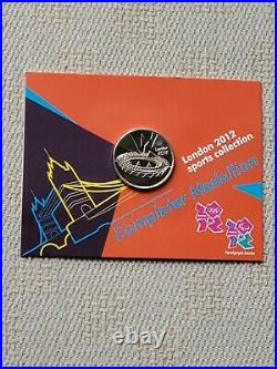 2012 Olympic 50p Uncirculated Full Set 29 Coins in Album & Completer Medallion