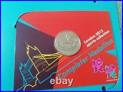 2012 Olympic 50p Uncirculated Full Set 29 Coins in Album and Completer Medallion