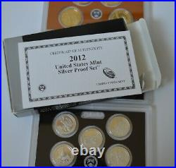 2012-S US MINT SILVER PROOF SET- Complete with Original Box and COA 14 coins