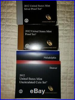2012 united states mint silver proof, proof and uncirculated sets complete