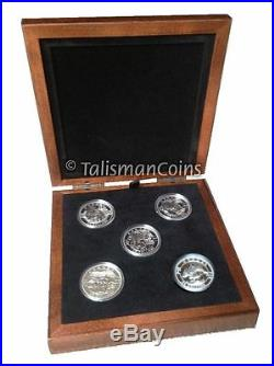 2013 O Canada Complete 5 Coin $25 1 Oz Silver Proof Set in Wooden Case