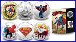 2013 Superman 75th Anniversary 7 Coins Complete Set with $75 14-Kt. Gold Canadian