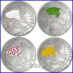 2013 france 4 x 10 euro silver Tour de France complete set proof box certificate
