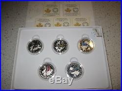 2015 Colorful Musical Songbirds Birds of Canada Complete 5 Coin $10 Silver Set