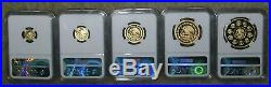 2015 Mexico Gold Proof Libertad 5 Coin Complete Set NGC Proof 70 Ultra Cameo
