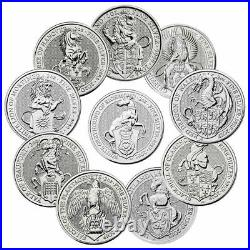 2016-2021 Britain 2 oz Silver Queen's Beasts 10 Coin Complete Set £5 BU