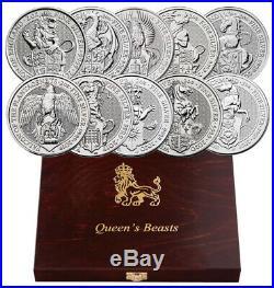2016-2021 Britain 2 oz Silver Queen's Beasts 10 Coin Complete Set £5 BU PRESALE