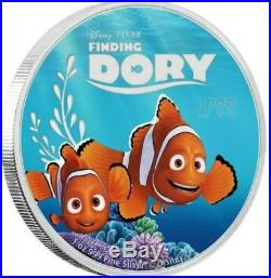 2016 5 OZ SILVER DISNEY PIXAR FINDING DORY COMPLETE 5 COIN SET With CASE N COA