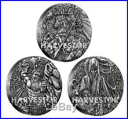 2016 Silver Norse Gods Complete 3-coin Set Odin, Thor, Loki All Ogp And Coa