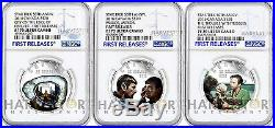 2016 Silver Star Trek Complete 3-coin Set All Coins Ngc Pf70 First Release