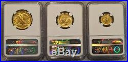 2016-W 100th Centennial Gold COMPLETE 3 Coin Set NGC SP70 Early Releases