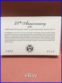 2018 San Francisco Mint Silver Reverse Proof Set Limited Mintage Complete NIB